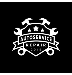 Service auto repair coat of arms shield wrench vector image