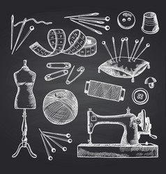 set hand drawn sewing elements on black vector image