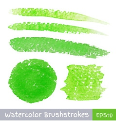 Set of green watercolor brush strokes vector