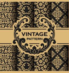 Set vintage flourishes vine seamless pattern vector