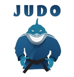 Shark judo fighter in kimono vector image