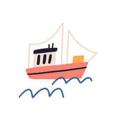 Ship with sails floating in sea or ocean fishing vector