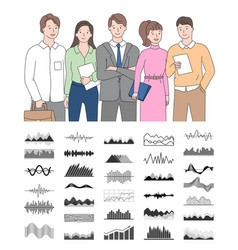 smiling workers holding documents chart vector image