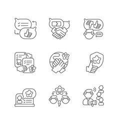 Soft skills linear icons set vector