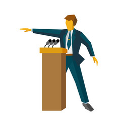 speaker at podium man standing at rostrum vector image