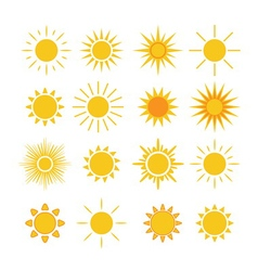 Sun icons set white vector image