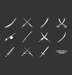 sword icon set grey vector image