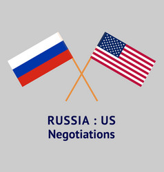The russia and united states flags crossed vector