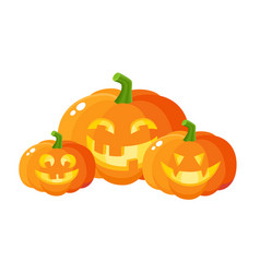 three smiling laughing grinning pumpkin jack-o vector image