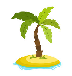 tropical palm on island with sea waves vector image