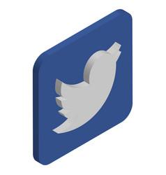 twitter logo isometric icon vector image