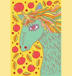 unicorn horse - doodle cartoon drawing vector image vector image