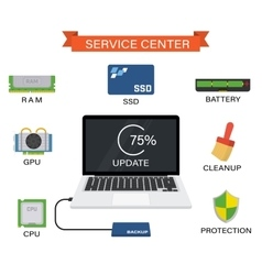 Upgrade your laptop with new components vector