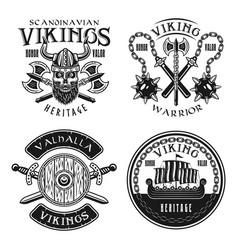 vikings set four emblems badges logos vector image