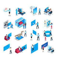 virtual reality device isometric immersion vector image