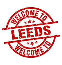Welcome to leeds red stamp vector
