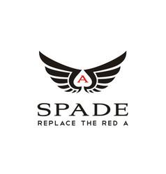 wings spade ace card negative space logo design vector image