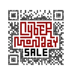Cyber monday sale lettering with qr-code consist vector