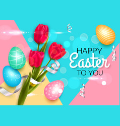 easter background with colorful eggs tulips vector image vector image