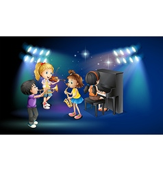 Kids playing music on stage vector image