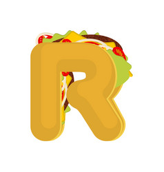 letter r tacos mexican fast food font taco vector image vector image