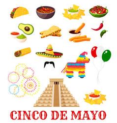mexican cinco de mayo fiesta party food icon vector image vector image