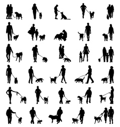 people with dog vector image vector image