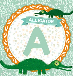 ABC animals A is alligator Childrens english vector image vector image
