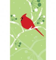 Cardinal on snowy branch vector