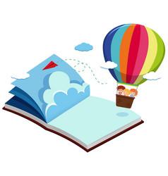 children on balloon in blue book vector image vector image