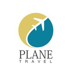 plane travel circle logo vector image