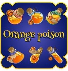 Set of six bottles with orange poison vector image