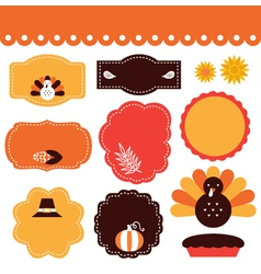 Thanksgiving retro tags and elements set vector image