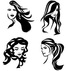 Woman hair silhouettes vector