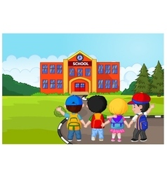 Little kids are going to school vector image vector image