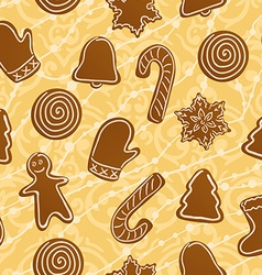Seamless Christmas holiday gingerbread cookies vector image