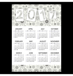 2017 simple business wall calendar with outline vector image vector image