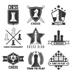 chess tournament or club label icons vector image