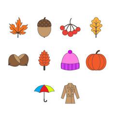 flat color autumn season icon set vector image vector image