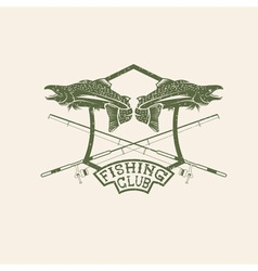 grunge fishing club crest with salmon vector image vector image