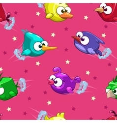 Seamless pattern with funny cartoon birds vector image
