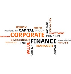 word cloud corporate finance vector image vector image