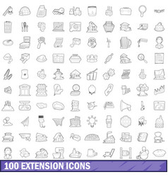 100 extension icons set outline style vector