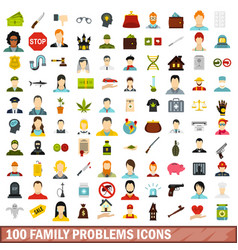 100 family problems icons set flat style vector image