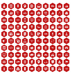 100 private property icons hexagon red vector