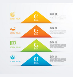 4 triangle timeline infographic options paper vector