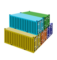 A Group of Cargo Containers on White Background vector