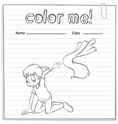 A worksheet with a young boy kneeling vector image