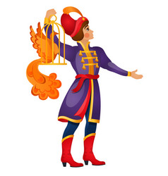A young fairy tale man carries a fiery bird in a vector