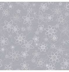 Abstract flowers floral grey seamless background vector